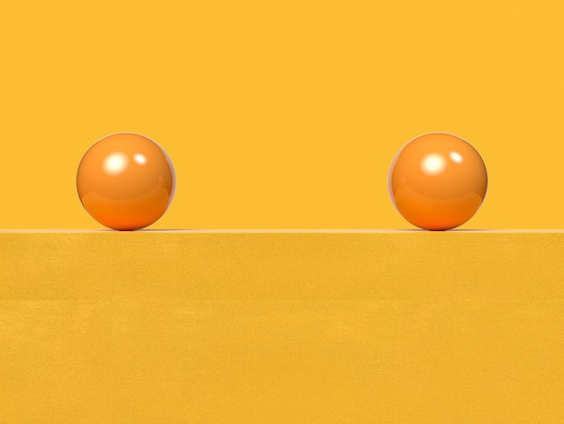空白の壁/床の抽象的な黄色の3 dレンダリングにボールの球