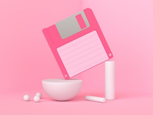 ピンクのシーン3 dレンダリング古いディスケット/フロッピー