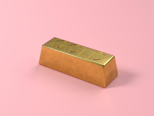 ゴールドバースクエアゴールド光沢のある3 dレンダリングピンクの背景