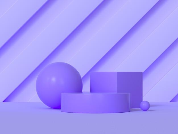 抽象的な表彰台紫シーンの幾何学的形状の3 dレンダリング