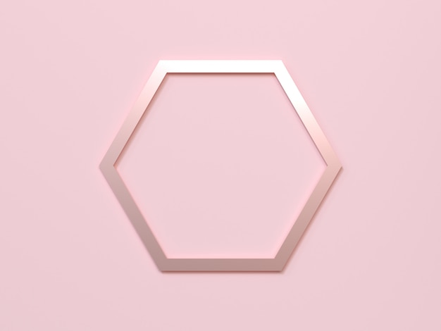 ピンクの背景の六角形フレームローズゴールドメタリック3 dレンダリング