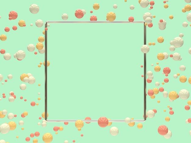 シルバーメタリックの幾何学的形状の空白フレーム多くのピンク白黄色ボール/球体浮上3 dレンダリング抽象的な背景
