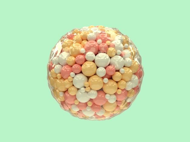 透明なラップ3 dレンダリングの抽象的な背景の中の多くのピンク白黄色ボール/球体浮揚