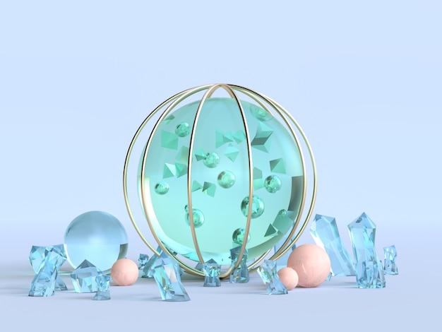 緑の澄んだ球青い背景3 dレンダリング冬の抽象的な概念