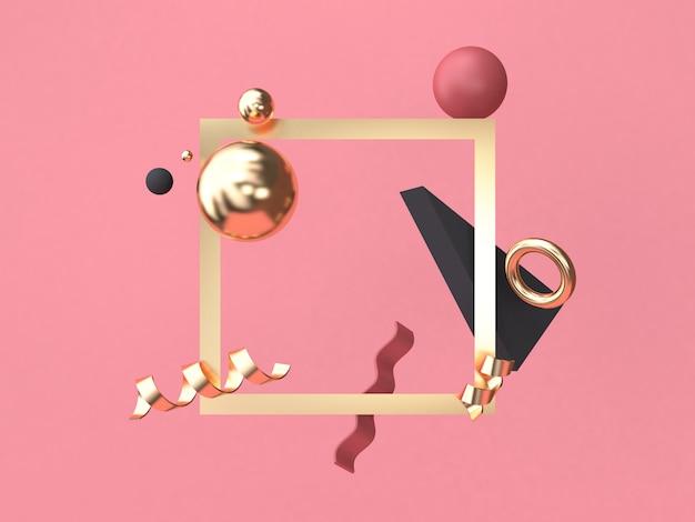 ゴールドの正方形フレーム赤ピンクの背景最小限の抽象的な幾何学的図形3 dレンダリング