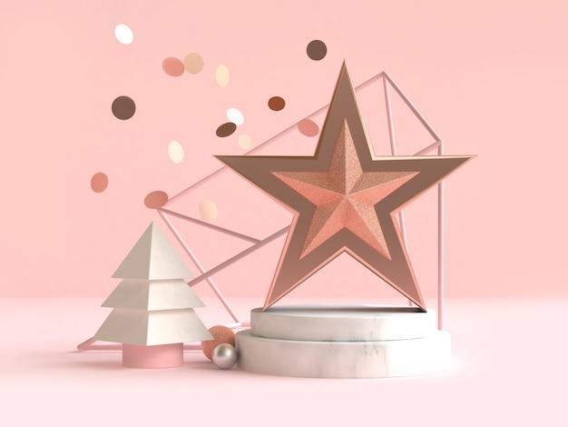 スター抽象的な幾何学的形状クリスマスコンセプトデコレーション3 dレンダリング