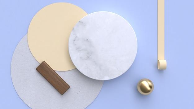 大理石紙フラットレイアウト背景幾何学的形状最小限の3 dレンダリング