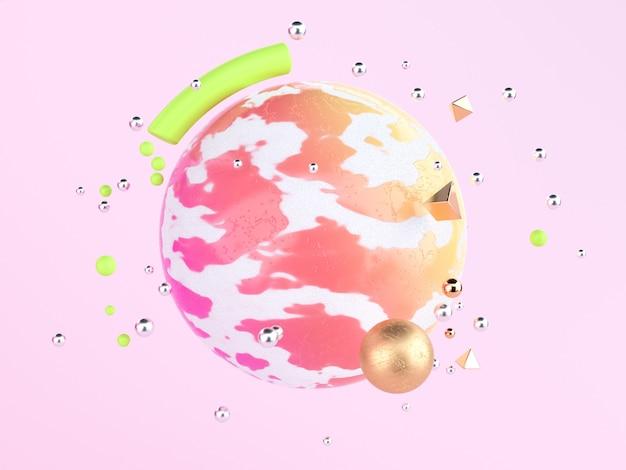 カラフルなシーンが浮かぶ球と3 dレンダリングピンクの背景の抽象的なピンク