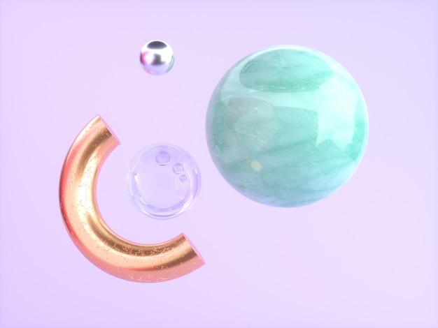 ピンク/紫色の背景緑の大理石の金半円フローティング3 dレンダリング