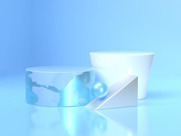 青と白の円の床反射3 dレンダリング