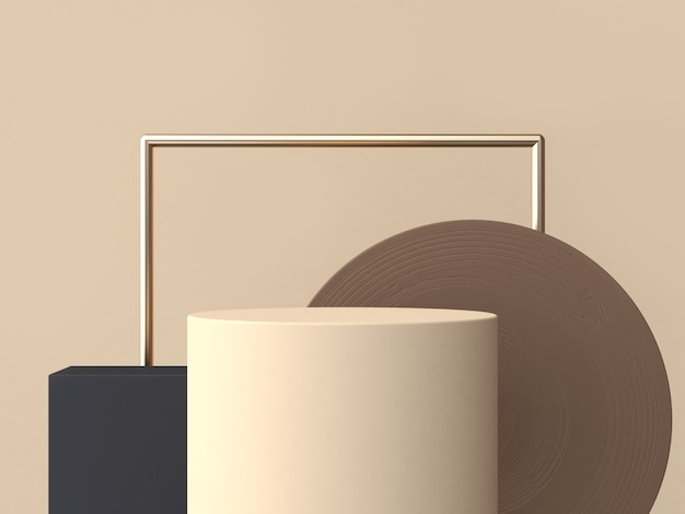 クリームシリンダーサークル茶色木目テクスチャ3 dレンダリング抽象的な幾何学的な表彰台