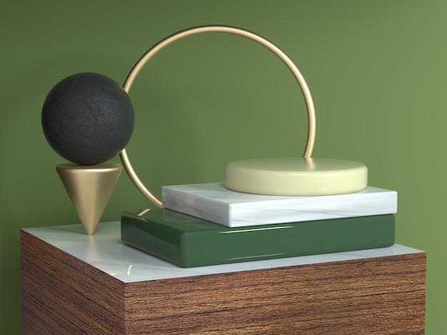 茶色木目テクスチャ正方形表彰台抽象的な幾何学的形状の静物設定3 dレンダリングサークルゴールドフレーム