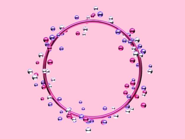 ピンクシルバーパープルメタリック幾何学的形状空白フレーム多くのボール/球体浮揚3 dレンダリングの抽象的な背景
