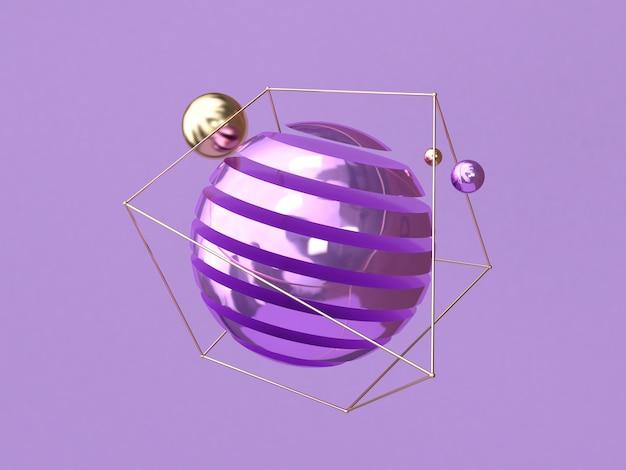 3 dレンダリングの浮上パープルバックグラウンドメタリックの抽象的な形