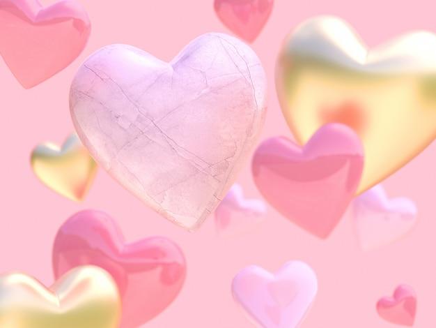 多くのハート形3 dレンダリングフォーカスホワイトロックテクスチャハート形ピンクの背景