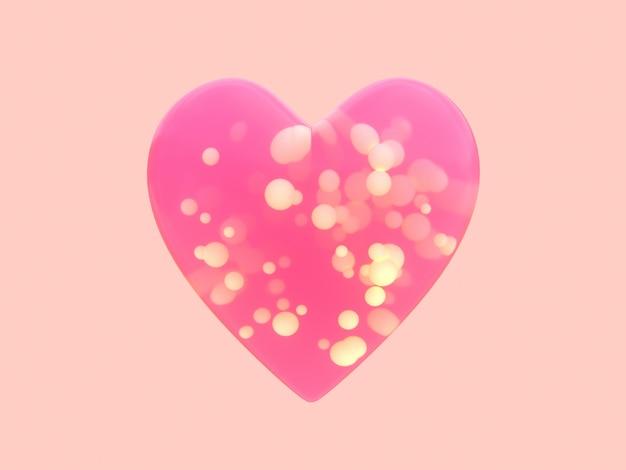 ピンクの透明なハート形3 dレンダリング内の多くの球