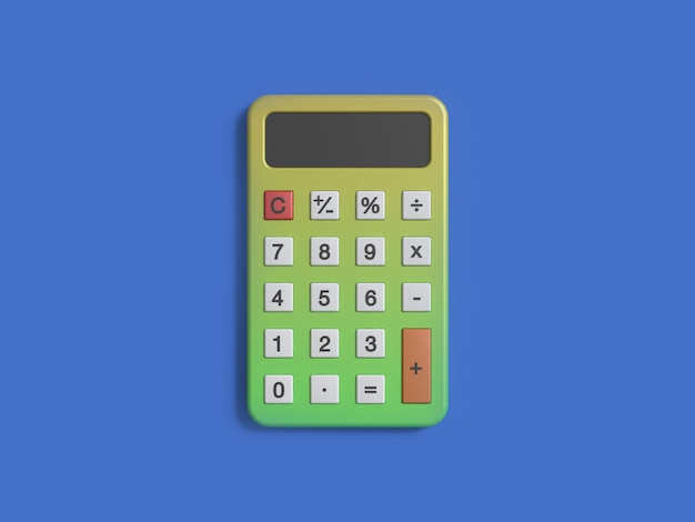 青の背景に緑色の黄色い電卓3 dレンダリング最小限のスタイル