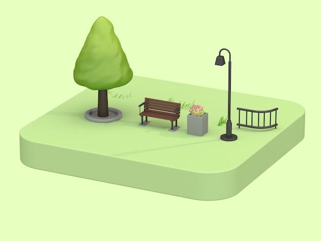 3 dアイソメトリックグリーンパーク夏の低ポリ木の椅子ランプ花漫画スタイルのコンセプト
