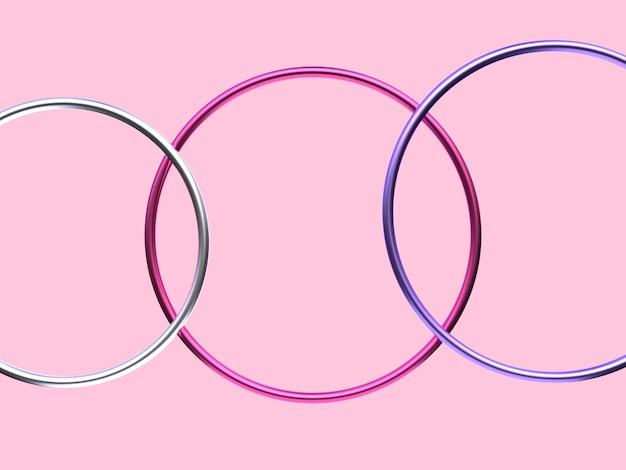 ピンクシルバーパープルメタリック幾何学的形状空白フレーム浮上3 dレンダリングの抽象的な背景