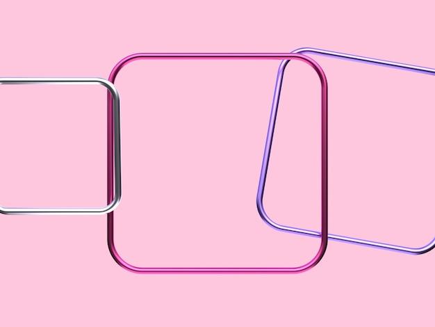 ピンクシルバーパープルメタリック幾何学的形状の空白のフレームの浮上3 dレンダリングの抽象的な背景