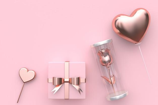 ピンクのハート形のギフトボックスバラの瓶バルーンハート抽象的なバレンタインコンセプト3 dレンダリングの中
