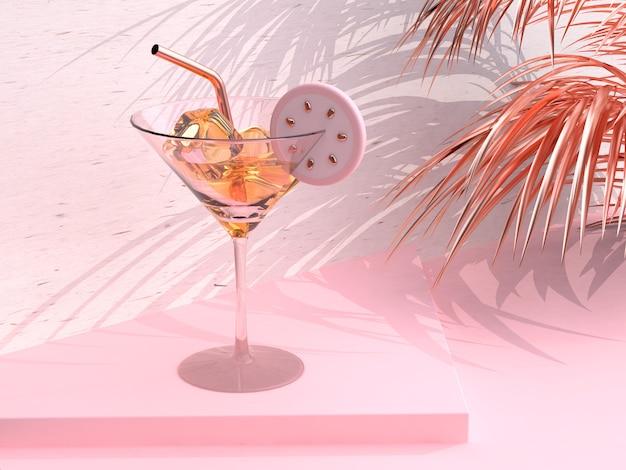 ガラスのレモンティーを飲む抽象的なピンクのシーン3 dレンダリング