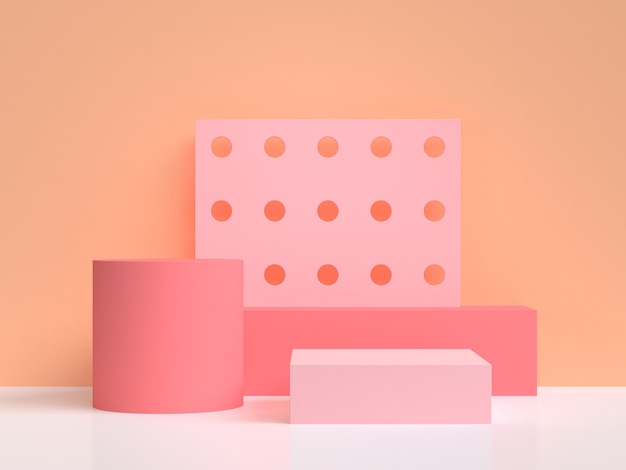 オレンジピンク抽象的な最小限の背景3 dレンダリング