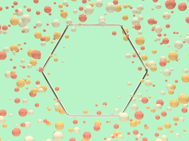 シルバーの幾何学的形状空白フレームピンク白黄色ボール/球体浮上3 dレンダリング要約