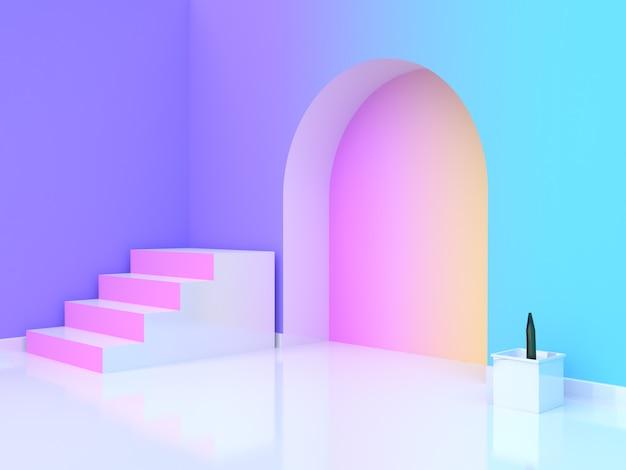 木の鍋抽象ピンク白階段 - 階段紫 - 紫青黄色ピンクグラデーション壁 - 部屋3 dレンダリング