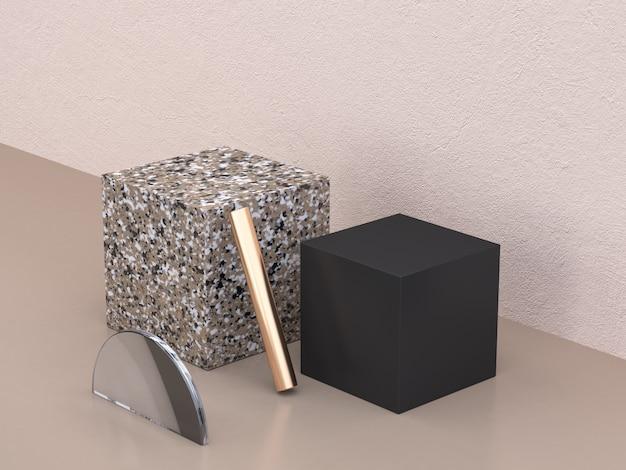 クリーム色の壁抽象的な幾何学的形状ブラウンブラック大理石3 dレンダリング
