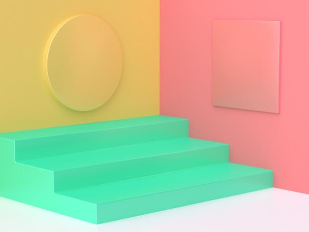 ピンクイエローグリーンステップフロアカラフルな抽象的な最小限3 dレンダリング
