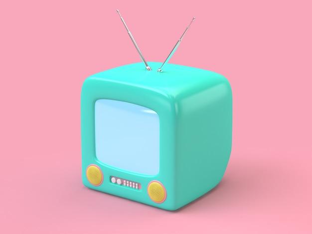 緑の古いテレビピンク最小限3 dレンダリング技術コンセプト
