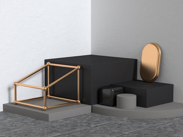 ブラックゴールドホワイトコーナー壁シーン抽象的な幾何学的な3 dレンダリング