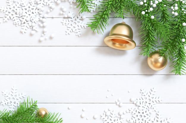 クリスマスの背景の3 dレンダリングの白い木の床