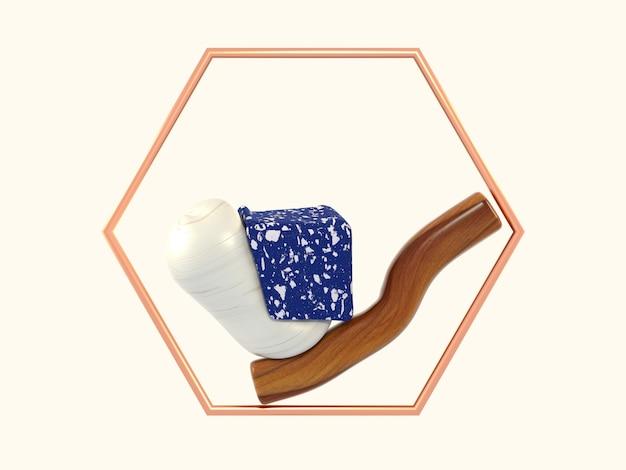 3 dレンダリングの抽象的な形の青い大理石の木製の六角形の銅フレーム