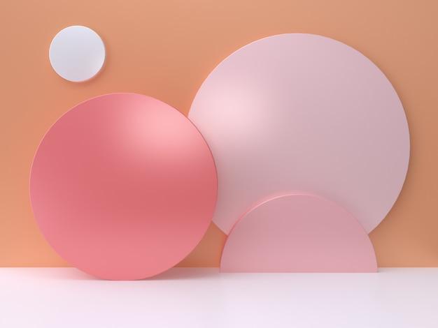 ピンクの円オレンジ色の壁最小限の抽象的な3 dレンダリング