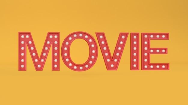 映画の種類 - テキスト文字黄色3 dレンダリング映画、映画、エンターテイメントの概念