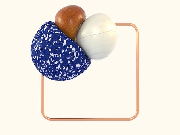 白いシーン抽象的な形青い大理石の木正方形銅フレーム3 dレンダリング