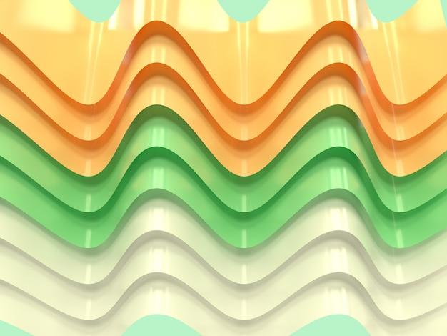 黄色緑白い曲線波抽象的な形浮上3 dレンダリングの背景