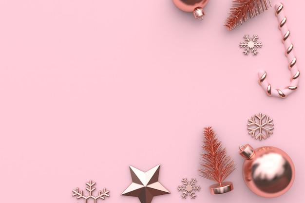 ピンクの金属光沢のあるローズゴールド3 dレンダリングクリスマス飾り背景