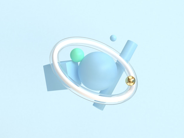 最小限の抽象的な青い背景をフローティング3 dレンダリングの幾何学的形状