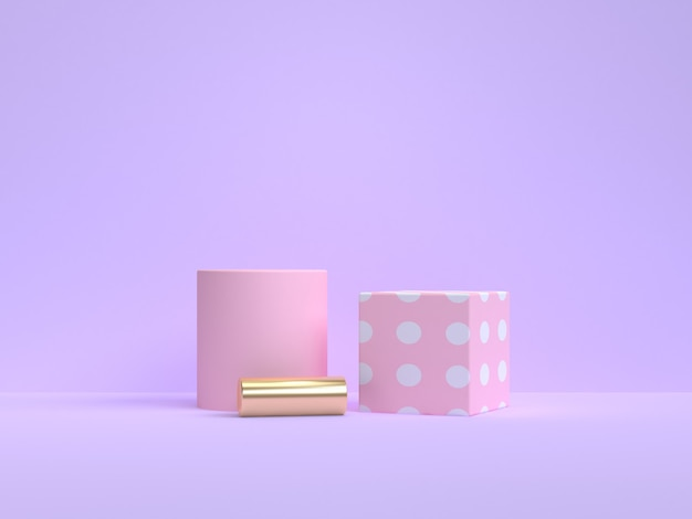 3 dレンダリング最小ピンクの幾何学的形状紫紫色の背景