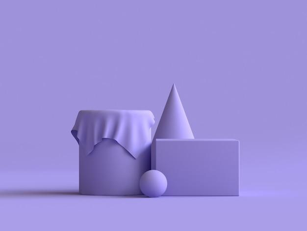 幾何学的形状グループセット紫最小限の3 dレンダリング