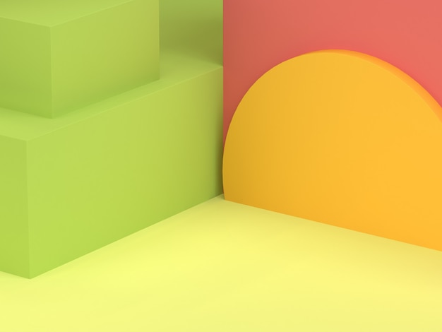 最小限の抽象的な背景3 dレンダリングの黄色の半円赤ピンクの壁