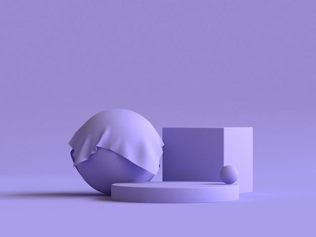 球体キューブ抽象的な幾何学的形状グループセット紫紫最小抽象的な3 dレンダリング