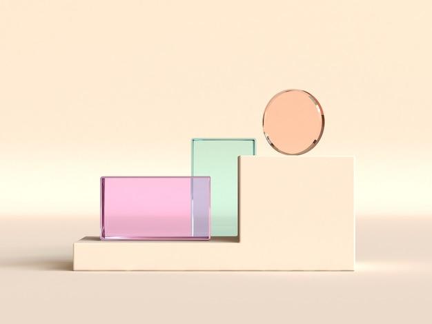 抽象的な3 dレンダリングカラフルな明確な幾何学的形状