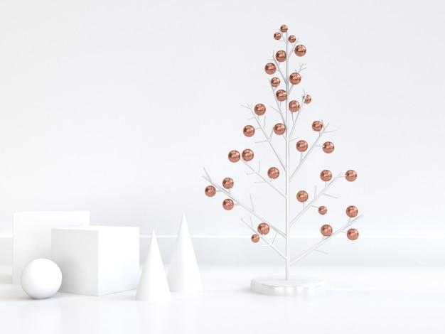 3 dレンダリング抽象的なクリスマスツリー銅球白幾何学的形状最小限の抽象的な白いシーンクリスマス新年休日冬コンセプト