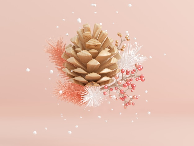 木製パインコーンスノーフレークと葉浮揚抽象冬コンセプト3 dレンダリング