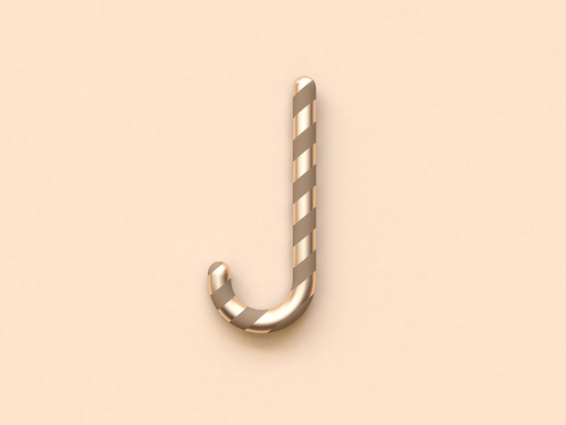 抽象的な曲線クリスマスキャンディブラウンゴールド3 dレンダリング