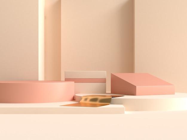 幾何学的形状の最小限の抽象的な壁クリームイエローオレンジ3 dレンダリング
